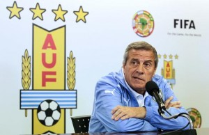Uruguay's coach Oscar Tabarez speaks during a news conference at the team's headquarters in the outskirts of Montevideo