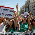 Students protest against cuts in the public education system in Madrid