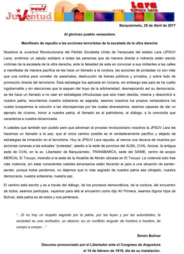 Manifiesto del 25A -COMUNICADO JPSUV LARA
