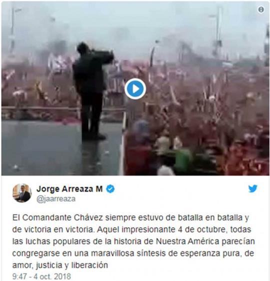 20181004 Can. Jorge Arreaza a Chavez
