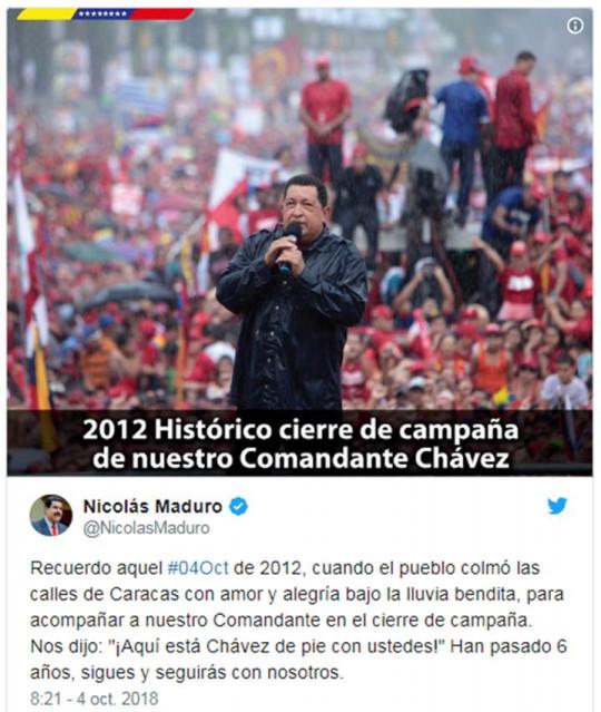 20181004 Pdte. Maduro a Chavez
